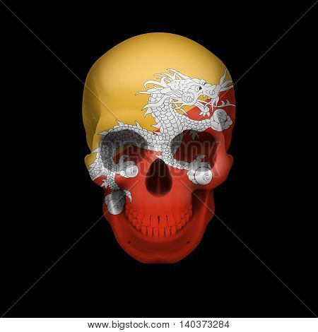 Human skull with flag of Bhutan. Threat to national security war or dying out