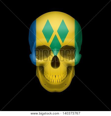 Human skull with flag of Saint Vincent and the Grenadines. Threat to national security war or dying out
