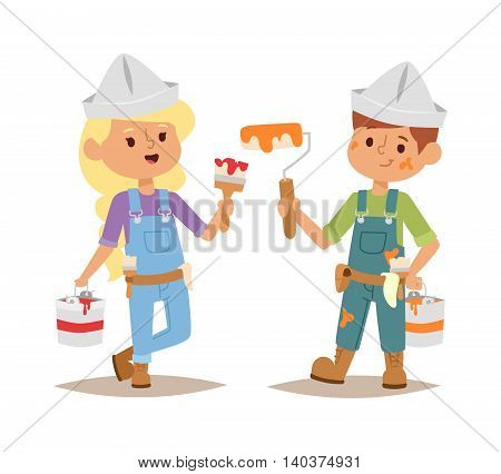 Builders kids boy and girl painting builder with tools. Vector character builder kid, cute child construction. Little person work equipment. Fun young profession.
