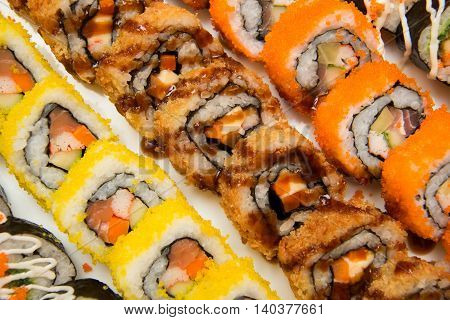 A Many pieces oj Sushi in market