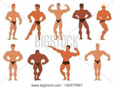 Set of muscular, bearded mans bodybuilders vector illustration. Fitness models bodybuilders, posing, bodybuilding style man. Isolated mens physics muscle sport healthy bodybuilders.