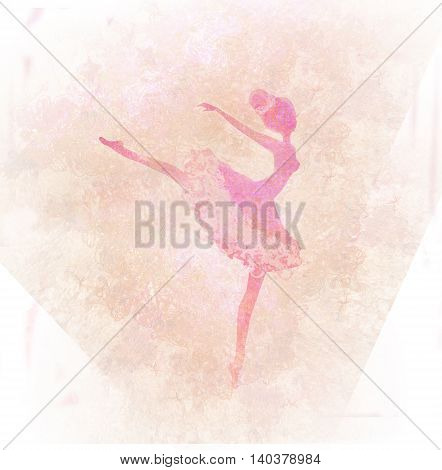 Beautiful vintage ballerina silhouette on abstract background , raster