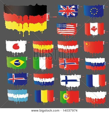 set of vector paint flags