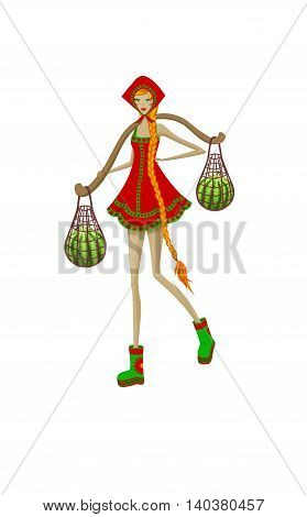 Isolated beautiful Russian girl with a yoke and watermelons in folk sundress illustration.