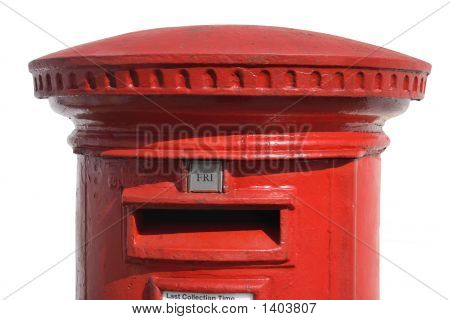 Close Up Of A British Red Post Box, With A White Background.