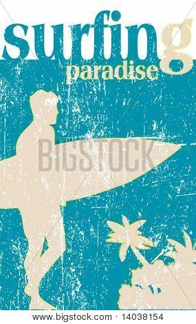 grunge surfing poster - vector