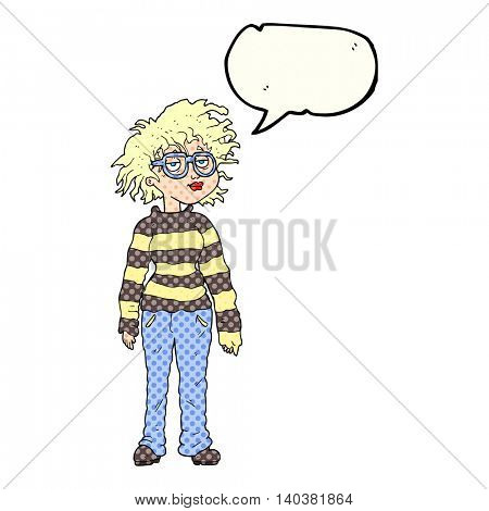 freehand drawn comic book speech bubble cartoon geeky girl