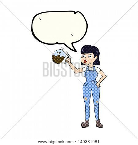 freehand drawn comic book speech bubble cartoon woman in dungarees with coffee