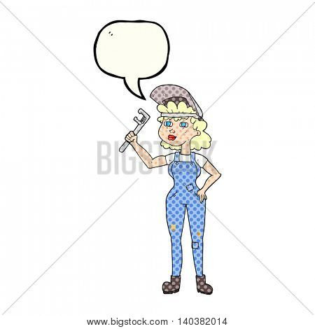 freehand drawn comic book speech bubble cartoon capable woman with wrench