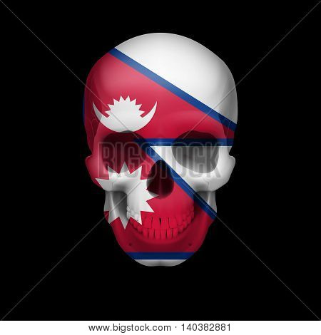 Human skull with flag of Nepal. Threat to national security war or dying out