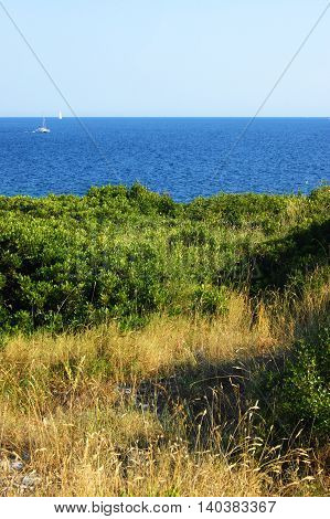 Landscape from the Montenegrin Adriatic coast in the hot summer