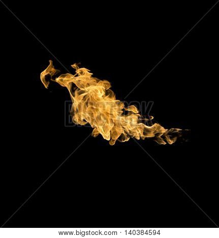 The Fire flames on a black background
