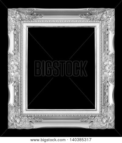 antique gray frame isolated on black background