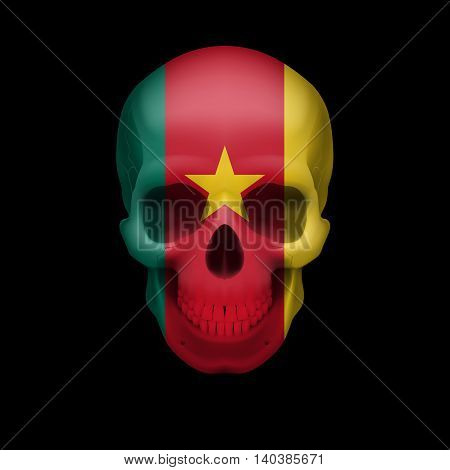 Human skull with flag of Cameroon. Threat to national security war or dying out