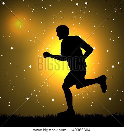vector illustration of man running and stars in the background