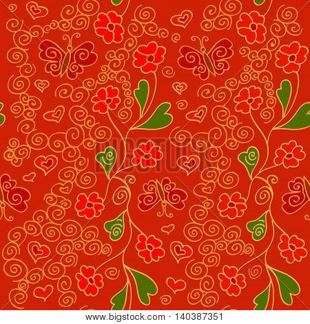 Seamless pattern with flowers, butterflies and hearts. Vitrage style. vector