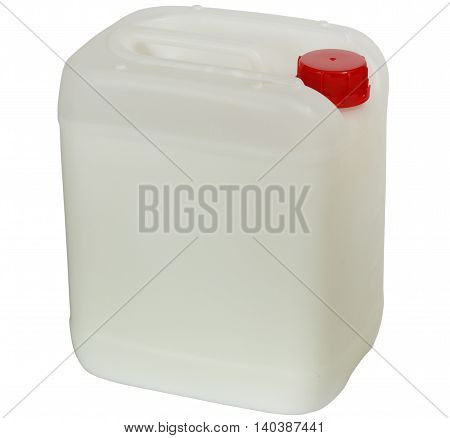Plastic jerry can with red cap. Isolation on a white background.