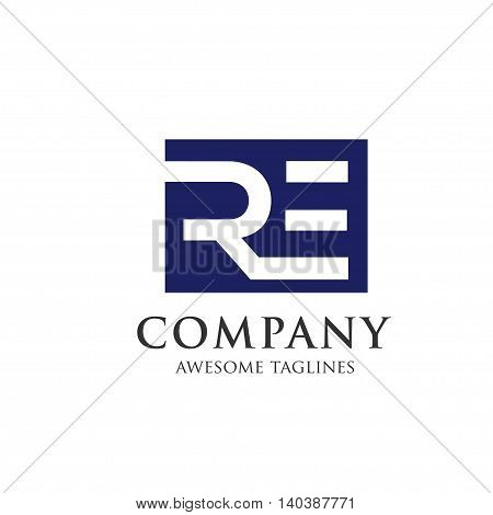 letter RE creative logo square background concept, innovative RE letter icon