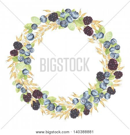 Wreath made from Oats, Blueberries and Blackberries, vector illustration in vintage style with berries and corn, symbol of healthy eating.