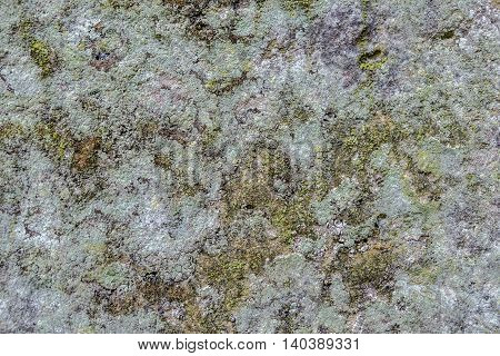 Texture background. Shapes and colors of the cracks and crevices of an old stone wall covered in lichen