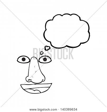 freehand drawn thought bubble cartoon facial features