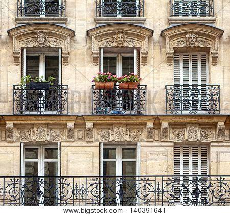 Typical facade of Parisian building