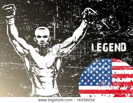 boxing poster with US flag