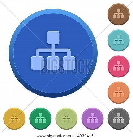 Set of round color embossed network buttons