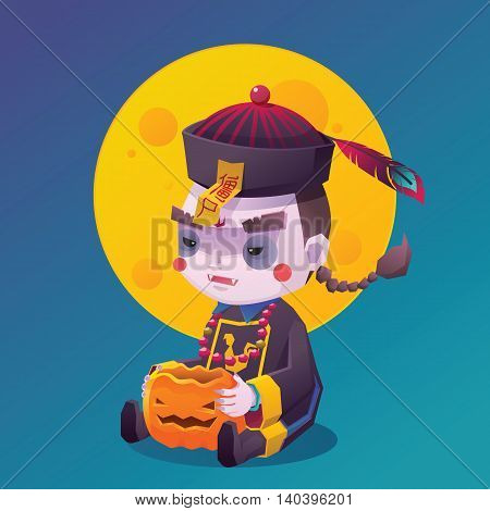 Vector Illustration of Jiangshi Chinese Hopping Vampire Ghost with Pumpkin for Halloween on Full Moon Background, Chinese Character on Yellow talisman mean Stiff Corpse, Cute  Cartoon Character