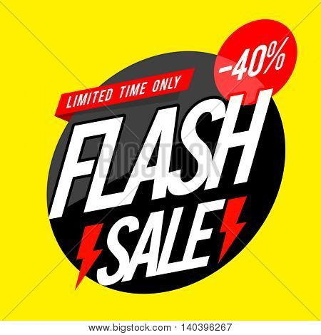 Creative Poster, Banner or Flyer design of Flash Sale with 40% Off for Limited Time.
