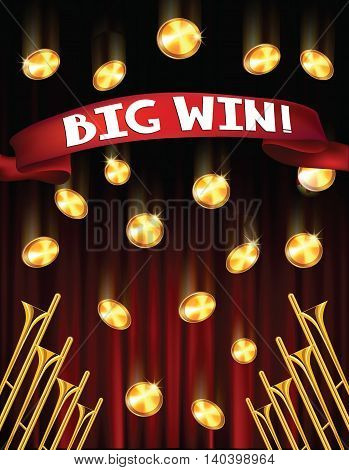 BIG win background with fanfars, falling coins and red ribbon