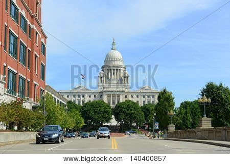 PROVIDENCE, RI - AUG 16, 2014: Rhode Island State House in Providence, Rhode Island, USA. Rhode Island State House was constructed in 1904 with Georgian style.