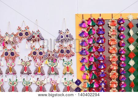 KOLKATA WEST BENGAL INDIA - NOVEMBER 28TH 2015 : Artworks of handicraft on display during the Handicraft Fair in Kolkata - the biggest handicrafts fair in Asia.