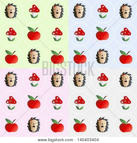 Four baby seamless pattern with mushroom with red cap, white dots and white stipe - fly bane, hedgehog with a bow tie and red apple on the his head, and red apples on a green, blue, pink and gray background