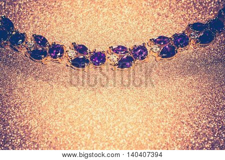 Gold Bracelet With Amethyst