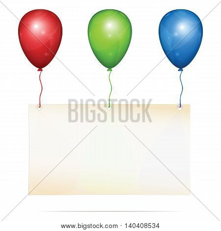 Blank greeting card with place for custom text hanging on three color balloons: red green blue. Vector Illustration isolated on white background.