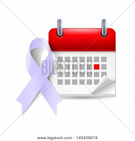 Lavender awareness ribbon and calendar with marked day. Epilepsy and cancer symbol
