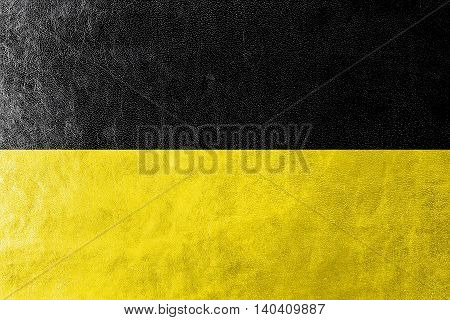 Flag Of Baden-wurttemberg, Germany, Painted On Leather Texture