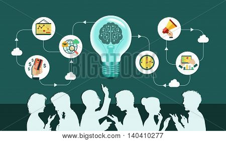 Infographic background. Vector. Business people group over conceptual. Silhouettes of people on a background of business icons. Office workers and business team. Mind Map Team.