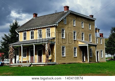 Lancaster Pennsylvania - October 14 2015: The Isaac Landis House circa 1870's at the Landis Valley Village and Farm Museum