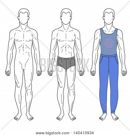 Fashion man outlined template full length front figure silhouette in vest & sweetpants vector illustration isolated on white background