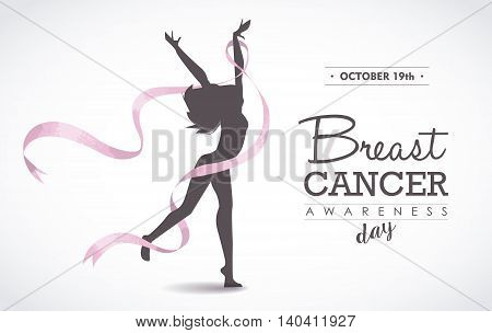 Happy Woman With Breast Cancer Ribbon For Support