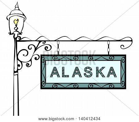 Alaska retro pointer lamppost. Alaska state America tourism travel.