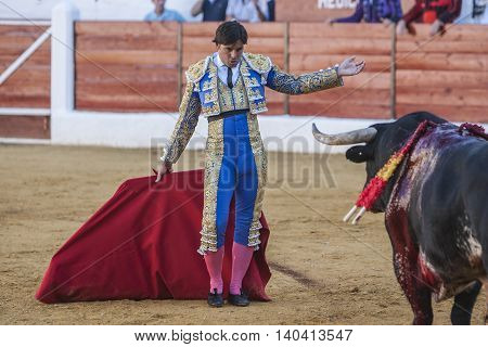 Sabiote SPAIN September 9 2011: The Spanish Bullfighter Francico Rivera bullfighting with the crutch in the Bullring of Sabiote Spain