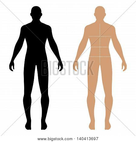 Fashion man full length solid template figure silhouette with marked body's sizes lines (front view) vector illustration isolated on white background