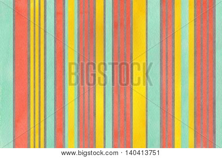 Watercolor Yellow, Seafoam, Salmon And Grey Striped Background.