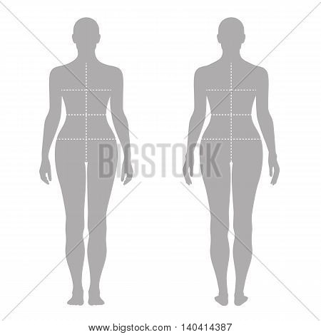 Fashion woman's solid template figure silhouette (front & back view) with marked body's sizes lines vector illustration isolated on white background