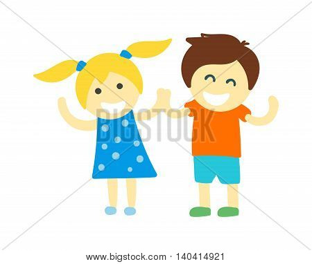 Kids holding hands doing jump and kids holding hands vector character. Kids holding hands cute little boy and girl. Kids holding hands love, friendship happy girl happiness children.