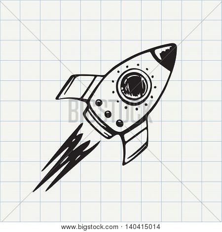 Rocket ship doodle icon. Hand drawn sketch in vector