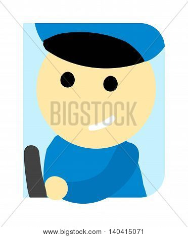 Driver man cute funny cartoon man. Profession driver automobile kid, fun road bus driver. Driver man uniform cute cartoon vector profession character.